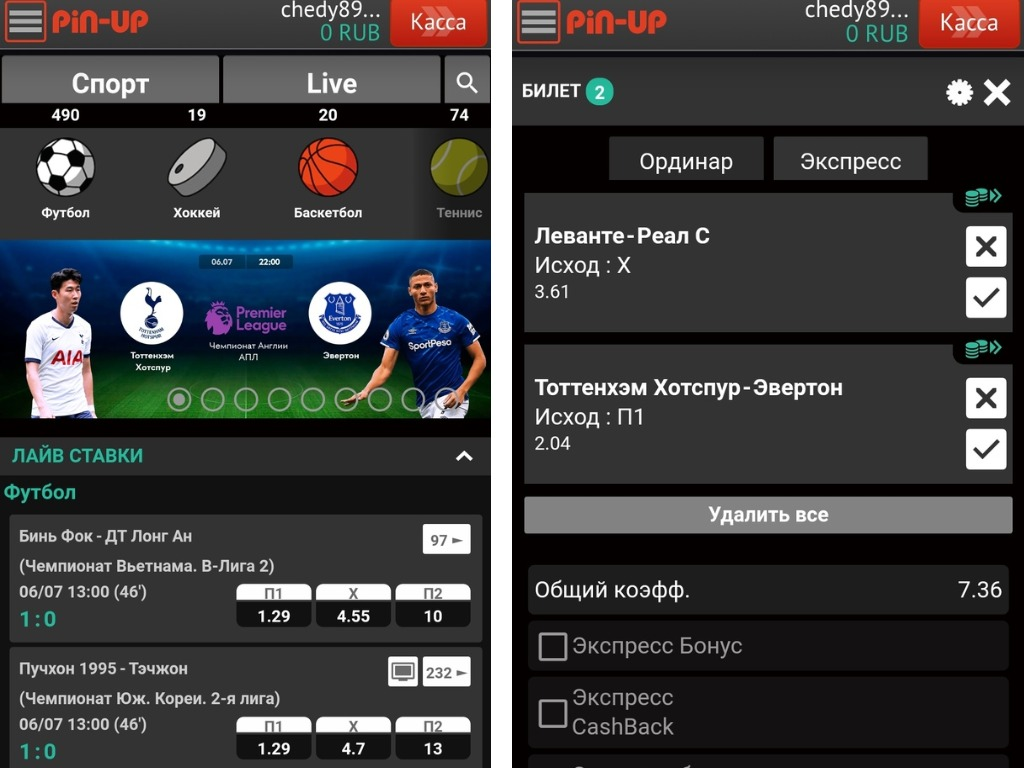 Пин Ап - скачать мобильное приложение для ставок на спорт
